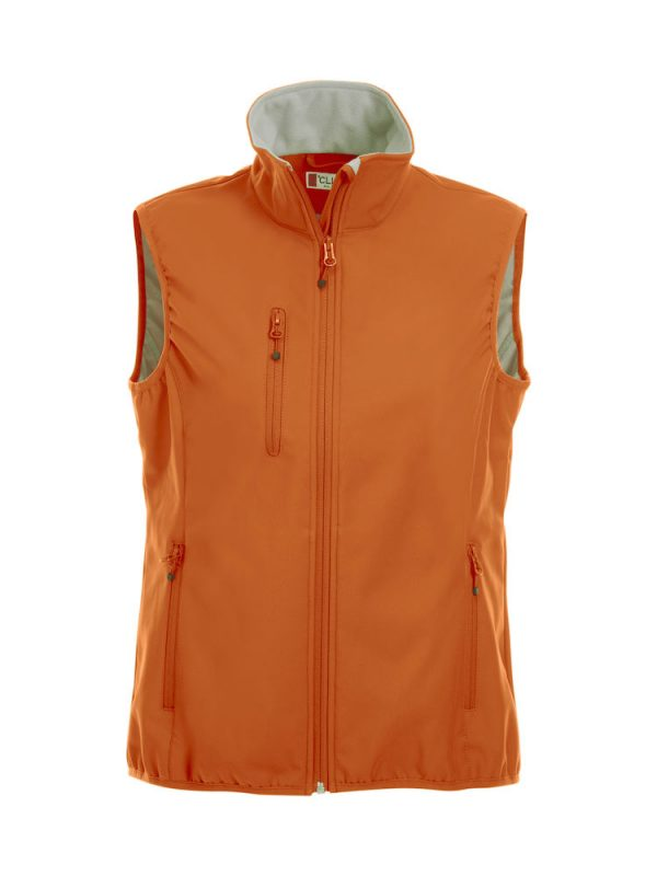 Softshell Softshell vest ladies, orange, front view, with logo Friese Paarden / Friesian Horses, by ZijHaven3, borduurstudio Lemmer