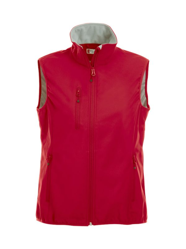 Softshell Softshell vest ladies, red, front view, with logo Friese Paarden / Friesian Horses, by ZijHaven3, borduurstudio Lemmer