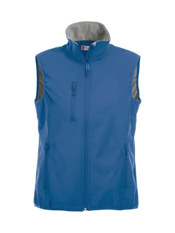 Softshell Softshell vest ladies, cobalt blue, front view, with logo Friese Paarden / Friesian Horses, by ZijHaven3, borduurstudio Lemmer