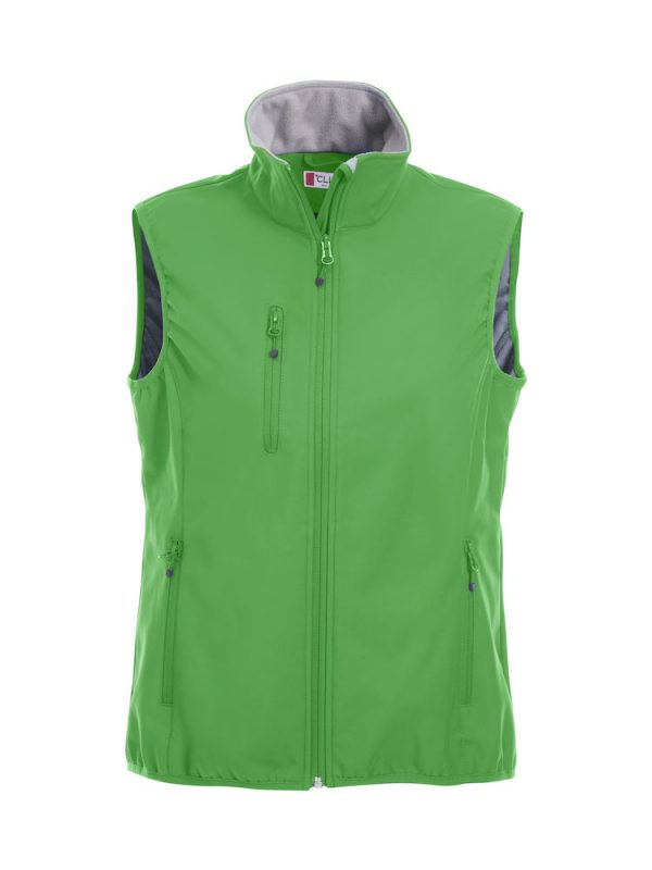 Softshell Softshell vest ladies, apple green, front view, with logo Friese Paarden / Friesian Horses, by ZijHaven3, borduurstudio Lemmer