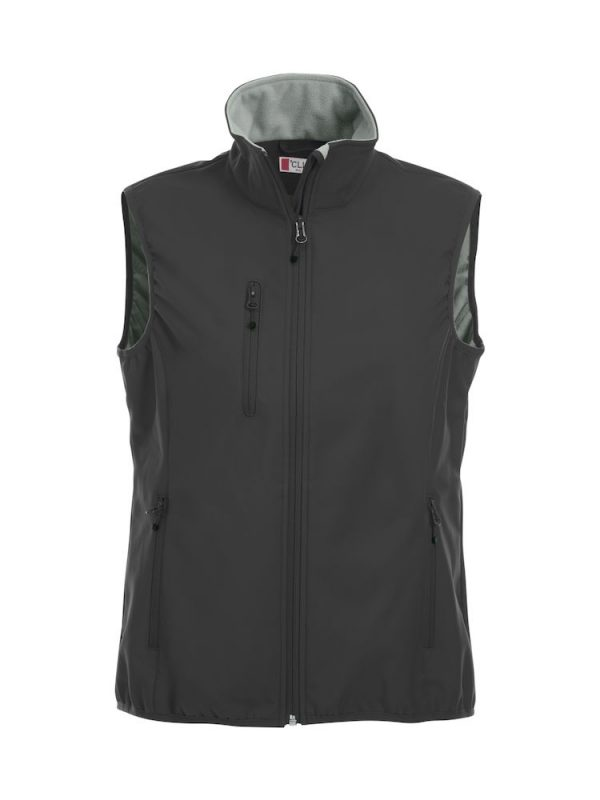 Softshell Softshell vest ladies, black, front view, with logo Friese Paarden / Friesian Horses, by ZijHaven3, borduurstudio Lemmer