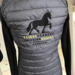 Bodywarmer ladies, grey, with logo Friese Paarden / Friesian Horses by ZijHaven3, borduurstudio Lemmer