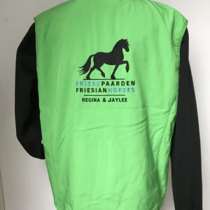 Softshell vest ladies, appel green, with logo Friese Paarden / Friesian horses, by ZijHaven3, borduurstudio Lemmer