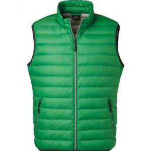 Mens Down vest, green, with logo Friese Paarden/Friesian Horses, by ZijHaven3, borduurstudio Lemmer