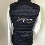 Equestrian sports, quilted ladies vest, with logo opfokstation Raepshille Strijensas, by ZijHaven3, borduurstudio Lemmer