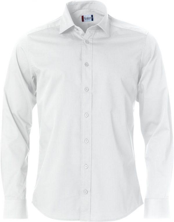 Mans shirt, white, with logo Friese Paarden / Frisian Horses, by ZijHaven3, borduurstudio Lemmer