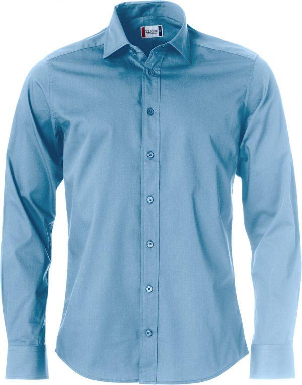 Mans shirt, light blue, with logo Friese Paarden / Frisian Horses, by ZijHaven3, borduurstudio Lemmer