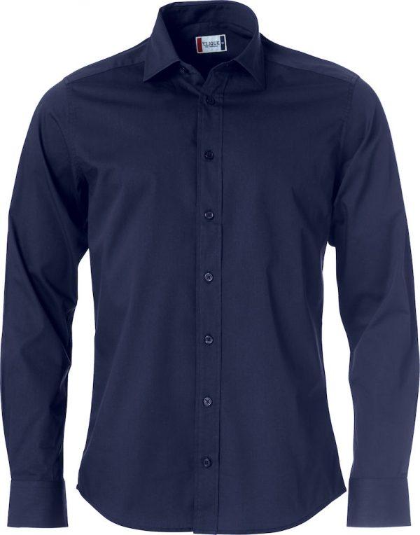 Heren shirt, navy, met logo Fries Paarden / Frisian Horses door ZijHaven3, borduurstudio Lemmer