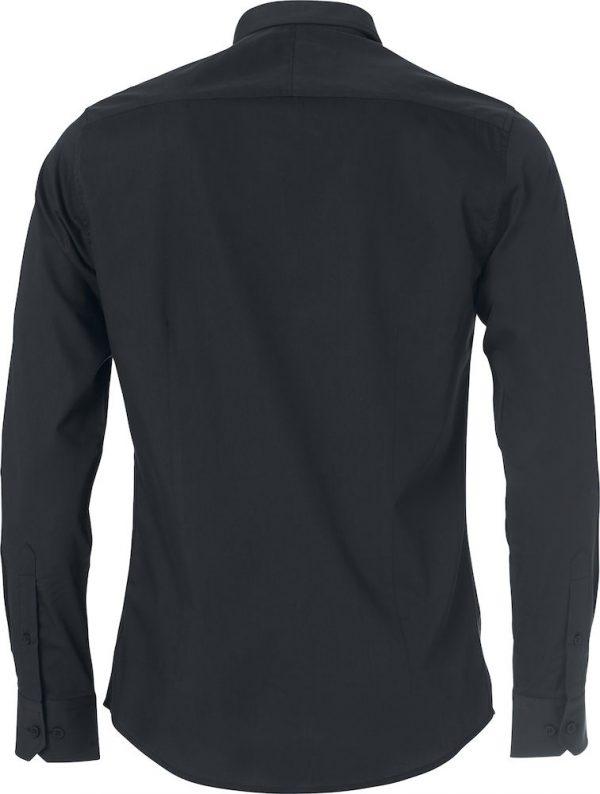 Heren shirt, zwart, achter aanzicht, met logo Fries Paarden / Frisian Horses door ZijHaven3, borduurstudio Lemmer