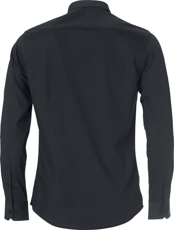 Mans shirt, black, back view, with logo Friese Paarden / Frisian Horses, by ZijHaven3, borduurstudio Lemmer