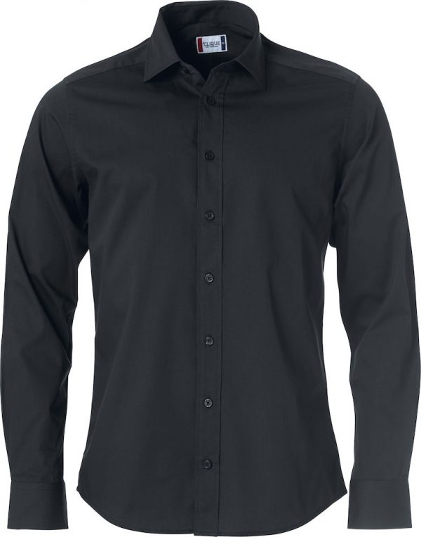 Mans shirt, black, front view, with logo Friese Paarden / Frisian Horses, by ZijHaven3, borduurstudio Lemmer