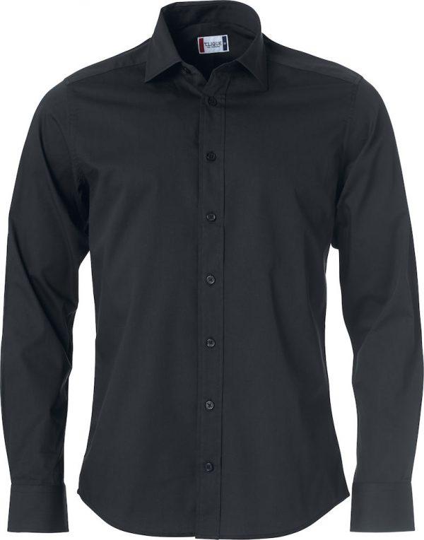 Heren shirt, zwart, met logo Fries Paarden / Frisian Horses door ZijHaven3, borduurstudio Lemmer