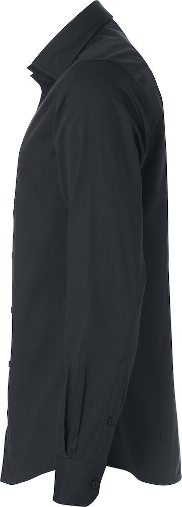 Heren shirt, zwart, linker zij aanzicht, met logo Fries Paarden / Frisian Horses door ZijHaven3, borduurstudio Lemmer