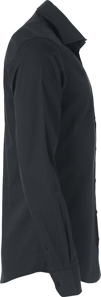 Heren shirt, zwart, rechter zij aanzicht, met logo Fries Paarden / Frisian Horses door ZijHaven3, borduurstudio Lemmer
