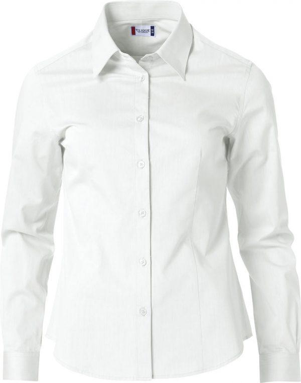 Dames shirt, wit, met logo Fries Paarden / Frisian Horses door ZijHaven3, borduurstudio Lemmer