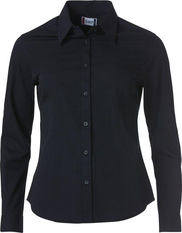 Dames shirt, zwart, met logo Fries Paarden / Frisian Horses door ZijHaven3, borduurstudio Lemmer