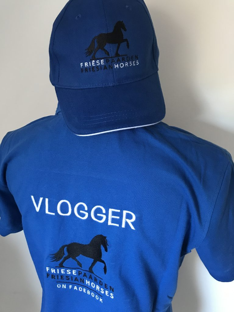 Official Vlogger shirt and cap Facebook group Friese Paarden/ Frisian Horses, by ZijHaven3, borduurstudio Lemmer