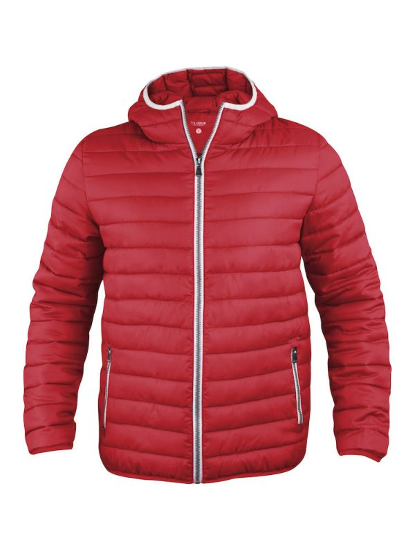 Quilted ladies/mens jacket with fixed hood, red, from Fries Paarden/ Friesian Horses, by ZijHaven3, borduurstudio Lemmer