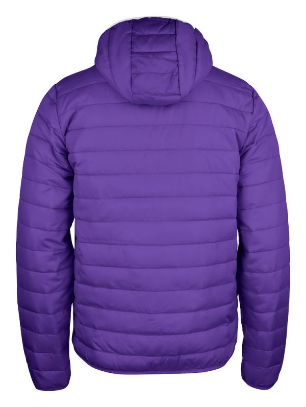 Quilted ladies/mens jacket with fixed hood, back view, bright lilac, from Fries Paarden/ Friesian Horses, by ZijHaven3, borduurstudio Lemmer