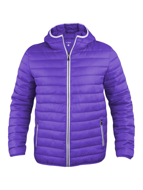 Quilted ladies/mens jacket with fixed hood, bright lilac, from Fries Paarden/ Friesian Horses, by ZijHaven3, borduurstudio Lemmer