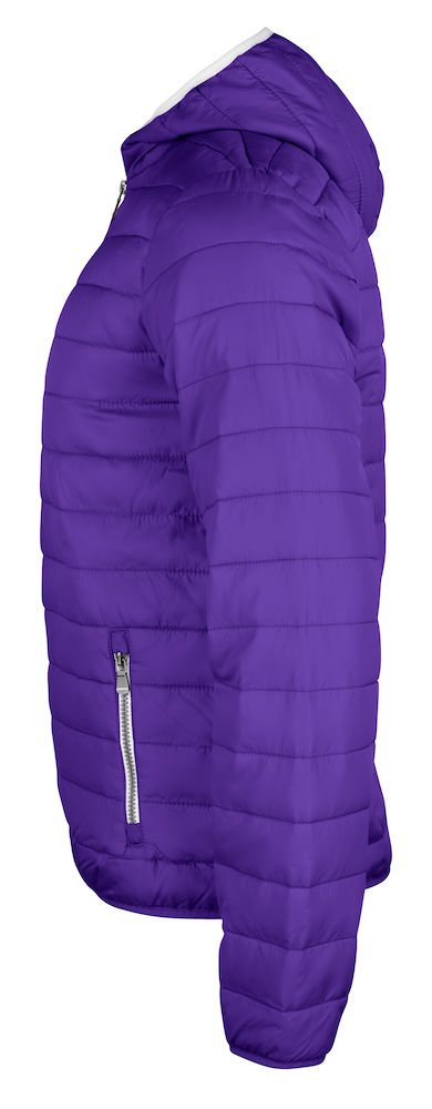 Quilted ladies/mens jacket with fixed hood, left view, bright lilac, from Fries Paarden/ Friesian Horses, by ZijHaven3, borduurstudio Lemmer