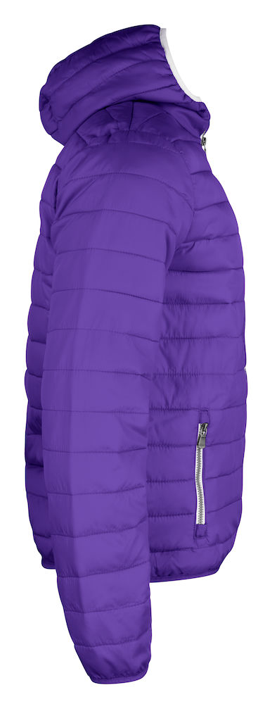 Quilted ladies/mens jacket with fixed hood, right view, bright lilac, from Fries Paarden/ Friesian Horses, by ZijHaven3, borduurstudio Lemmer