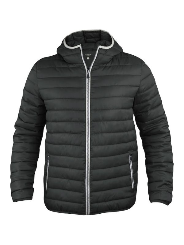 Quilted ladies/mens jacket with fixed hood, black, from Fries Paarden/ Friesian Horses, by ZijHaven3, borduurstudio Lemmer