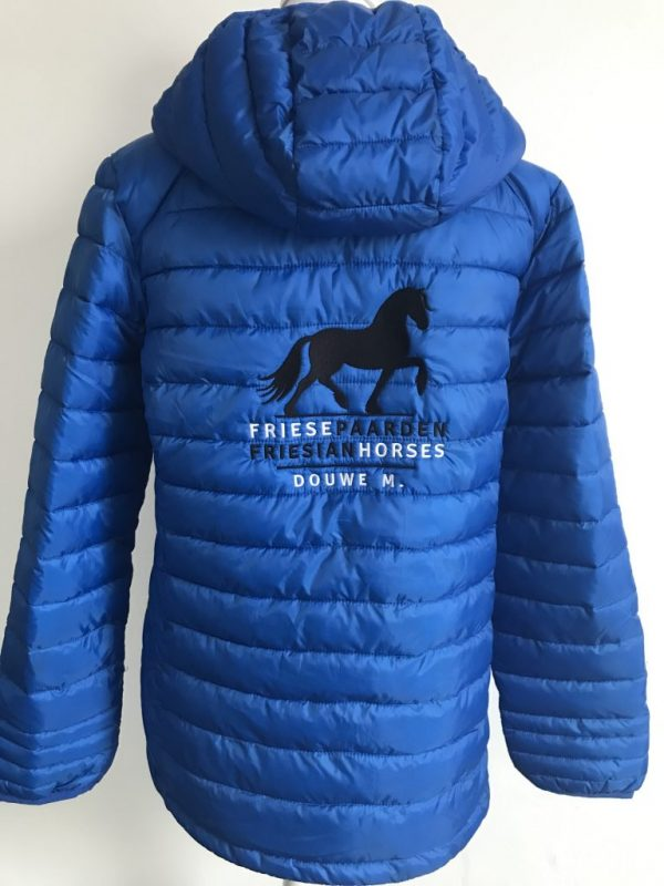 Equestrian sports, personalised quilted jacket with Fries Paarden / Friesian Horses logo, by ZijHaven3, borduurstudio Lemmer