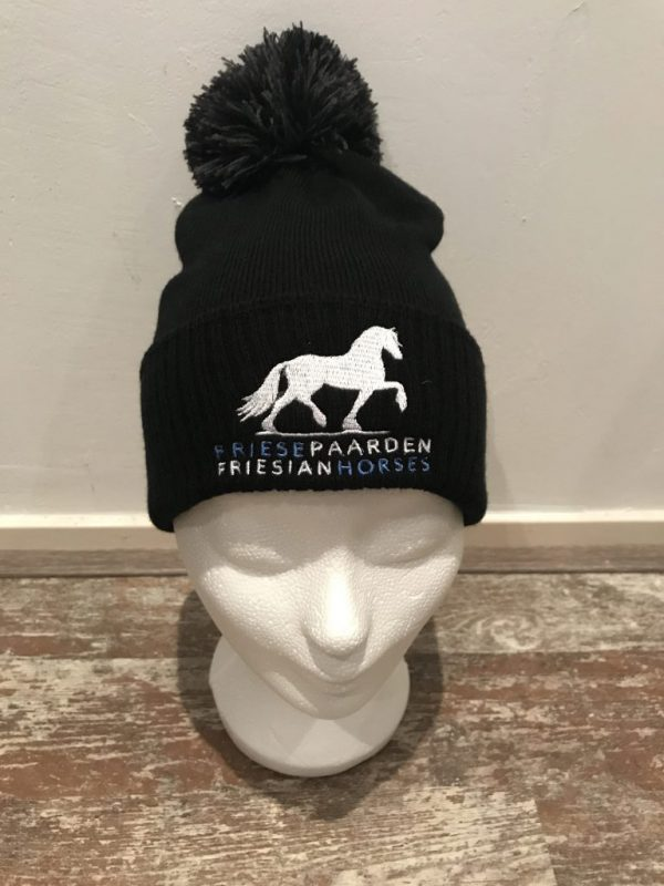Knitted hat with pompon, black, with logo Friese Paarden / Friesian Horses, by ZijHaven3 borduurstudio Lemmer