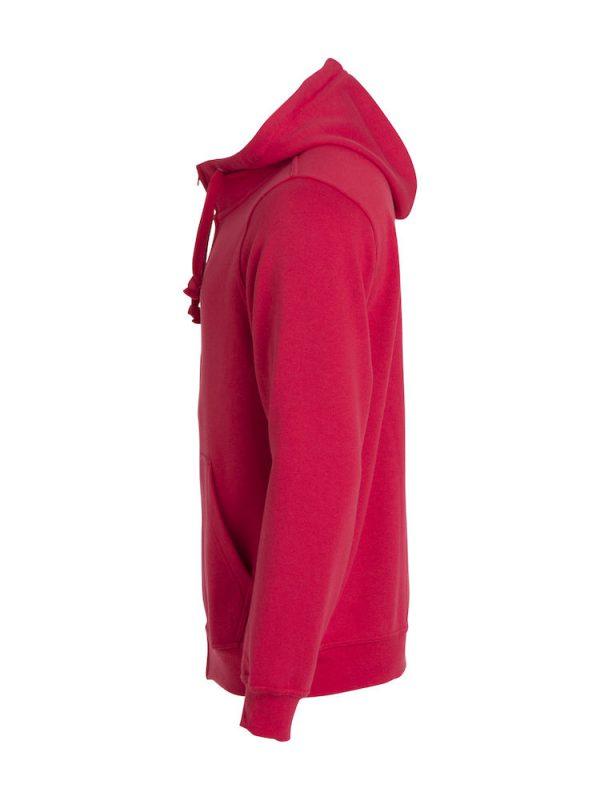 Zipped Hoody men, red, left view, with logo Friese Paarden / Friesian Horsen, by ZijHaven3, borduurstudio Lemmer