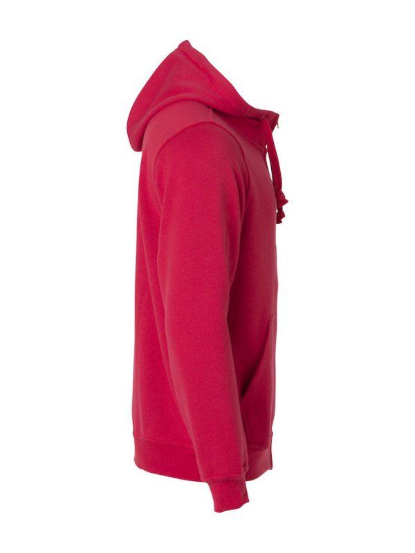 Zipped Hoody men, red, right view, with logo Friese Paarden / Friesian Horsen, by ZijHaven3, borduurstudio Lemmer