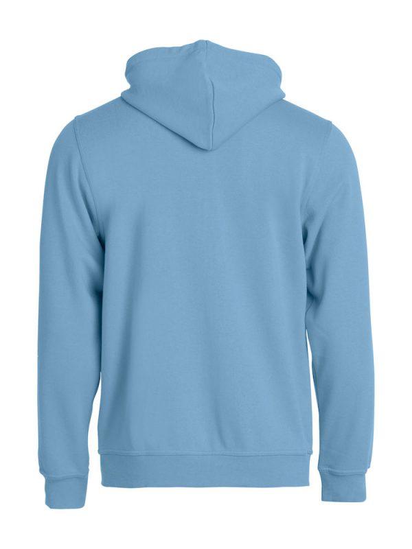 Zipped Hoody men, light blue, with logo Friese Paarden / Friesian Horsen, by ZijHaven3, borduurstudio Lemmer