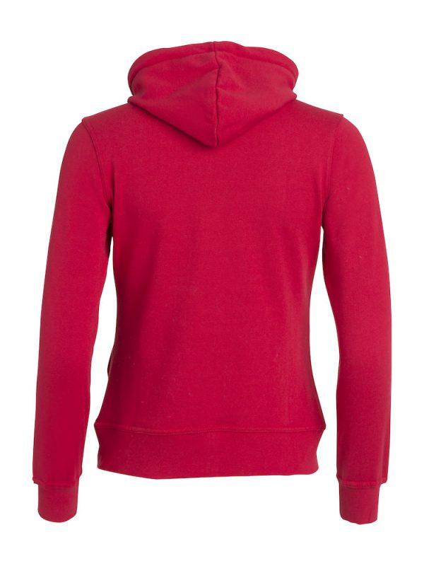 Hoody vest dames, rood, achterzijde, met logo Friese Paarden / Friesian Horsen, door ZijHaven3, borduurstudio Lemmer