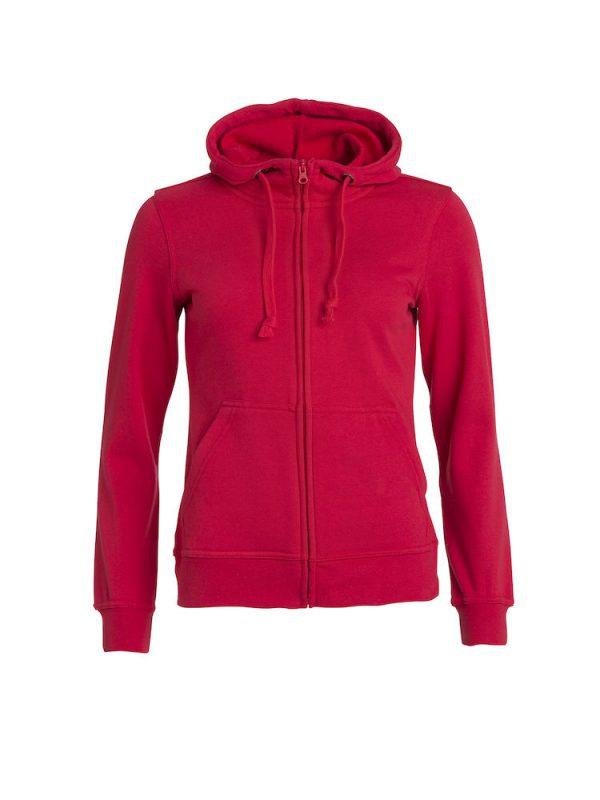 Hoody vest dames, rood, voorzijde, met logo Friese Paarden / Friesian Horsen, door ZijHaven3, borduurstudio Lemmer