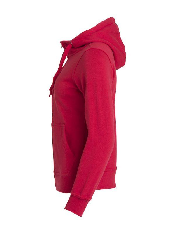 Hoody vest dames, rood, linkerzijde, met logo Friese Paarden / Friesian Horsen, door ZijHaven3, borduurstudio Lemmer