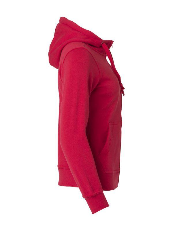 Hoody vest dames, rood, rechterzijde, met logo Friese Paarden / Friesian Horsen, door ZijHaven3, borduurstudio Lemmer