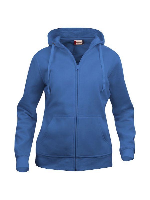 Hoody vest dames, kobalt blauw, met logo Friese Paarden / Friesian Horsen, door ZijHaven3, borduurstudio Lemmer