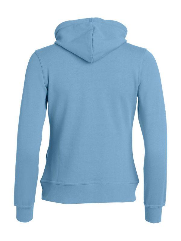 Hoody vest dames, licht blauw, met logo Friese Paarden / Friesian Horsen, door ZijHaven3, borduurstudio Lemmer