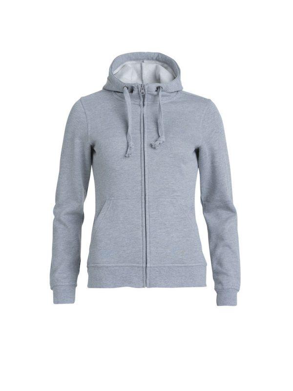 Hoody vest dames, grijs gemeleerd, met logo Friese Paarden / Friesian Horsen, door ZijHaven3, borduurstudio Lemmer