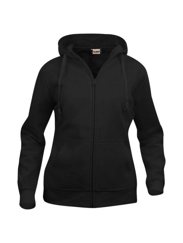 Hoody vest dames, zwart, met logo Friese Paarden / Friesian Horsen, door ZijHaven3, borduurstudio Lemmer