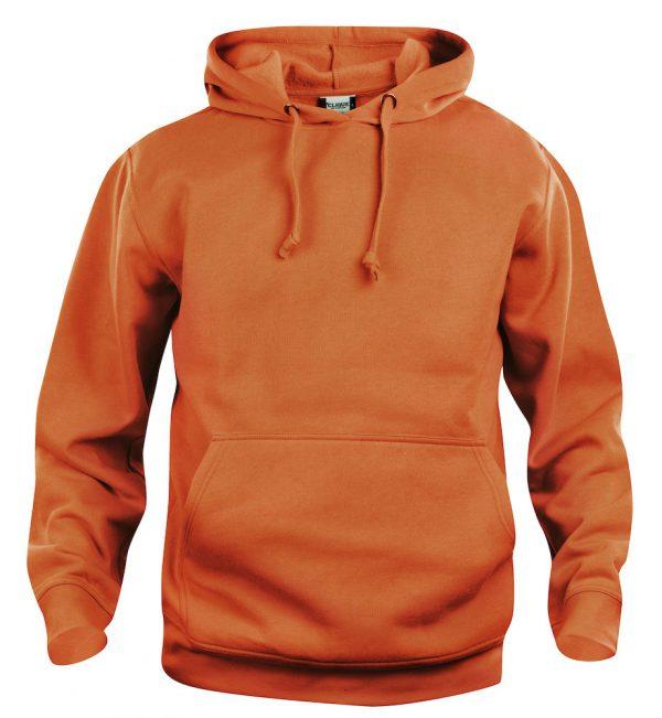 Hoody oranje, met logo Friese Paarden / Fresian Horses door ZijHaven3, borduurstudio Lemmer