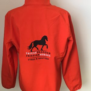 Softshell ladies jacket, orange with logo Friese Paarden/Friesian Horses, by ZijHaven3, borduurstudio Lemmer