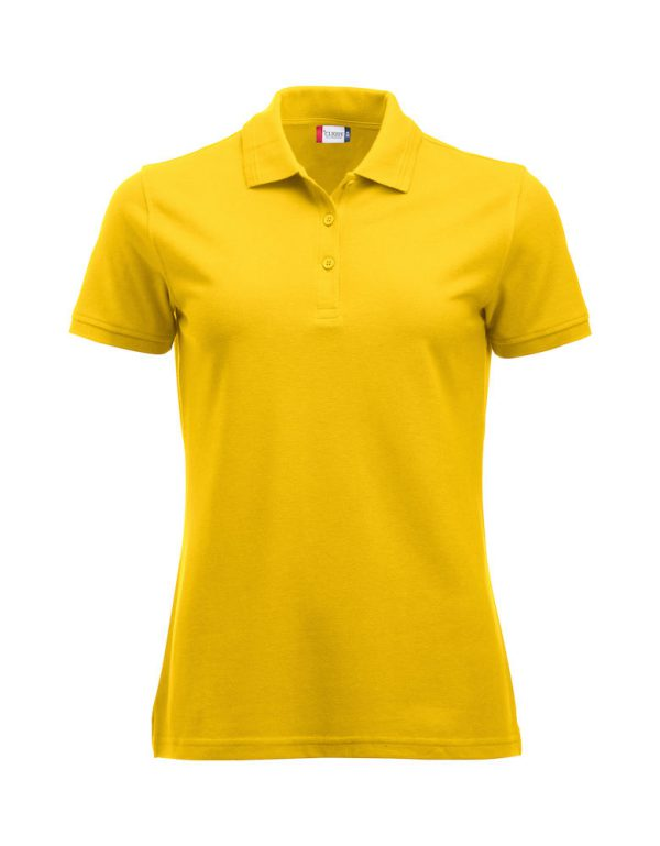 Polo , ladies, yellow, with logo Fries Paarden/Friesian Horses, by ZijHaven3 borduurstudio Lemmer