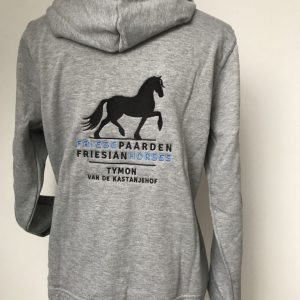 Zipped Hoody ladies, grey, with logo Friese Paarden / Friesian Horsen, by ZijHaven3, borduurstudio Lemmer