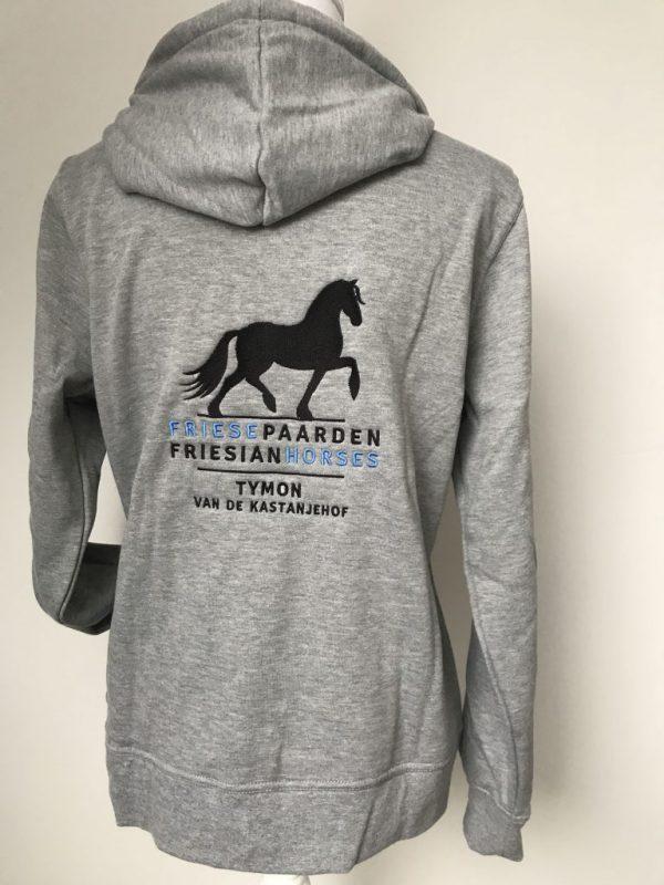 Zipped Hoody ladies, grey, with logo Friese Paarden / Friesian Horsen, by ZijHaven3, borduurstudio Lemmer