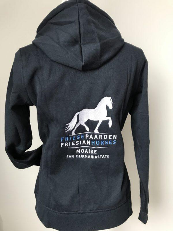 Hoody vest, ladies, dark navy, with logo Friese Paarden/Friesian Horses, by ZijHaven3 borduurstudio Lemmer