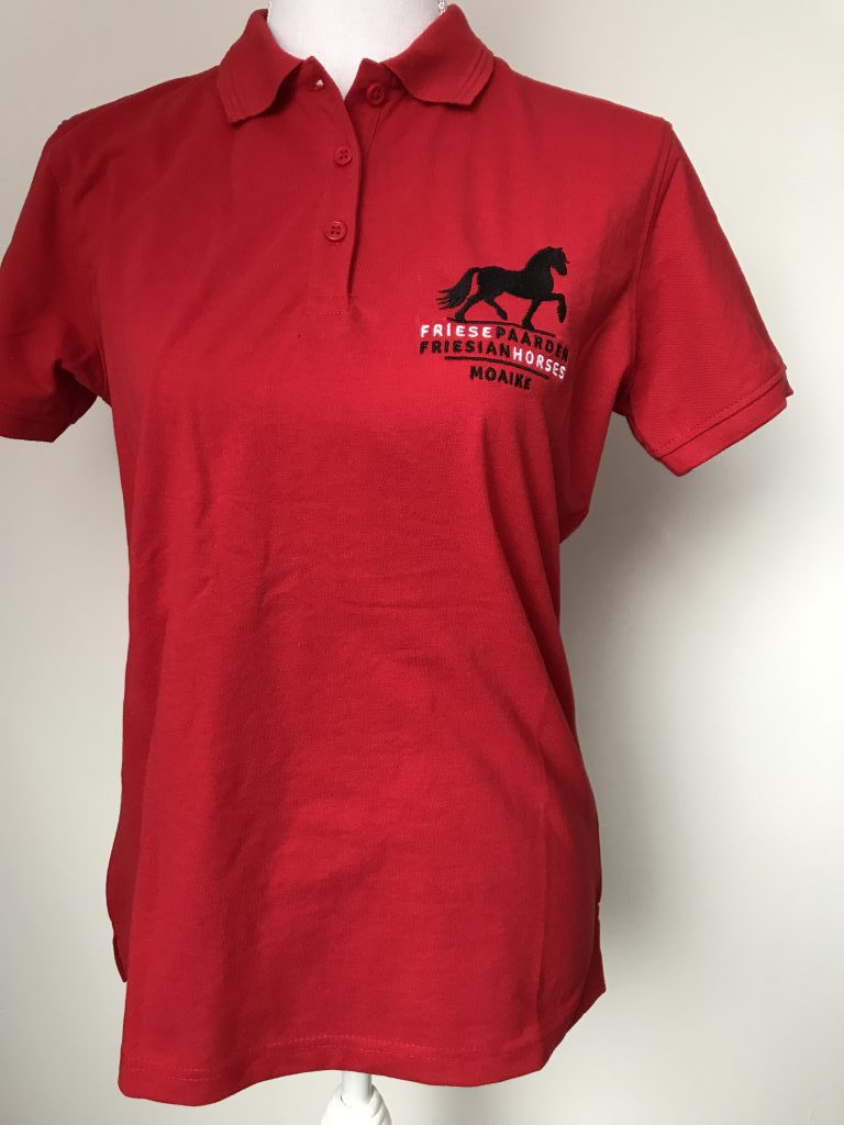 Polo , ladies, red, with logo Fries Paarden/Friesian Horses, by ZijHaven3 borduurstudio Lemmer