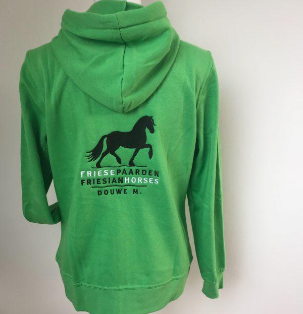 Hoody vest, dames, appelgroen, met logo Friese Paarden/Friesian Horses, door ZijHaven3 borduurstudio Lemmer