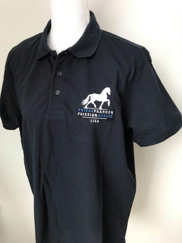 Heren polo met borstborduring logo Friese Paarden / Friesian Horses, door ZijHaven3, borduurstudio Lemmer