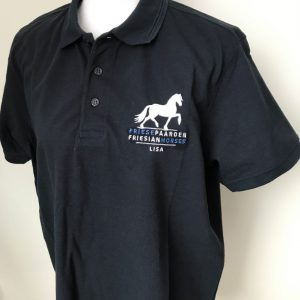 Mens polo with chest embroidery logo Friese Paarden / Friesian Horses, by ZijHaven3, borduurstudio Lemmer